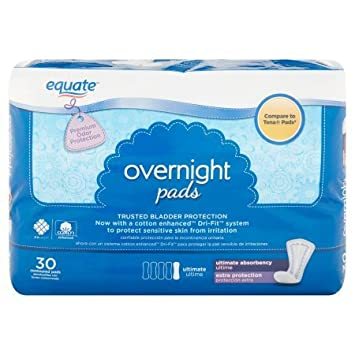 Equate Overnight Ultimate Extra Protection Incontinence Pads, 30 count (1 Pack)