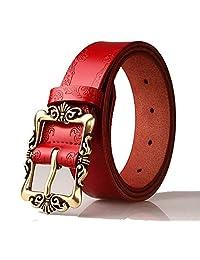 Red Retro Leather Pin Buckle Belt Flower Print Designer Belt for Women