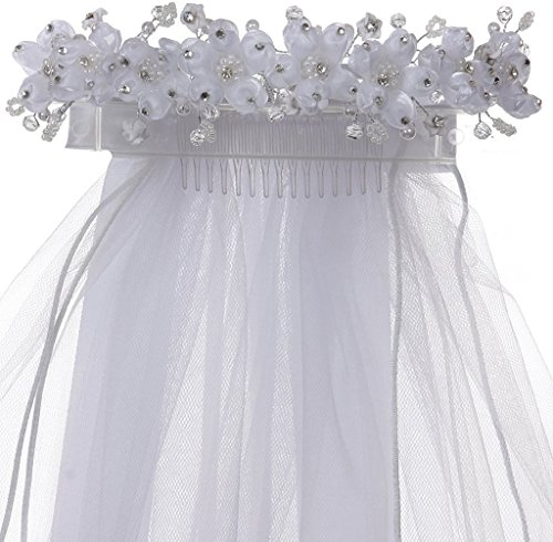 iGirlDress Girls White Floral Wreath Rhinestone Pearls First Communion Veil 499