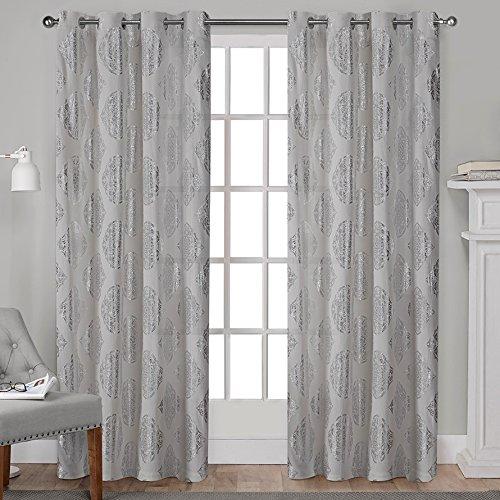Exclusive Home Augustus Metallic Light Filtering Grommet Top Curtain Panel Pair, Silver, -