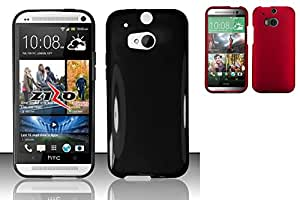 Combo pack HTC One 2 M8 - TPU Cover - Black TPU And MYBAT Titanium Solid Red Phone Protector Cover for HTC One M8