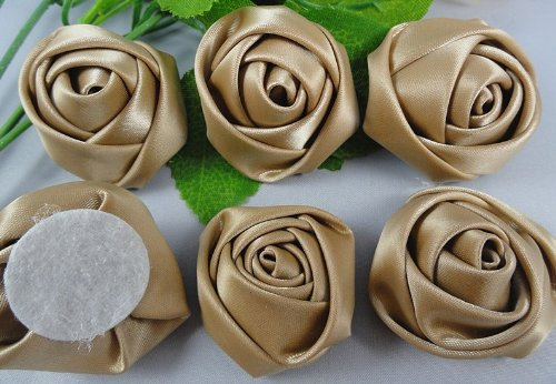 YAKA 30pcs Handmade stereo Fabric Rose Flowers for DIY Headdress Flowers Headbands Clips ,Rose Wedding Decor Hair Bow Appliques Craft Sewing Accessories coffee