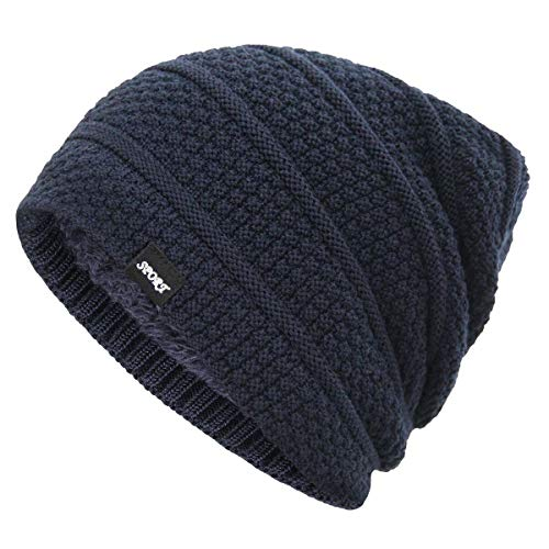 Bodvera Winter Knit Warm Hat Thick Soft Stretch Slouchy Beanie Oversized Chunky Ski Skull Cap Navy ()