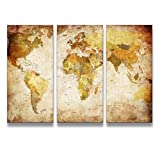youkuart Canvas Prints Map Art, 3 Panels World Map Wall Art Antiquated Style, Framed & Stretched, Ready to Hang for Wall Decor Picture