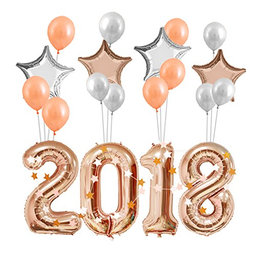 LINGXUE 40inch Giant Rose Gold Birthday Number 2018 Balloons 21st Balloons 28th 20th Anniversary Graduation Ceremony (Rose Gold)