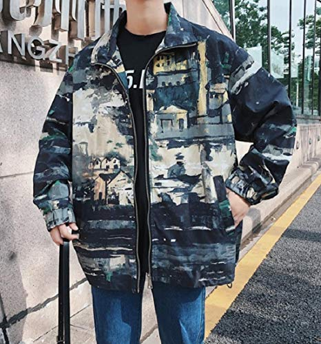 AngelSpace Casual Collar Full Jacket Turn Autumn Rain Zip Green Multicam Down Mens rqwXx0HFr