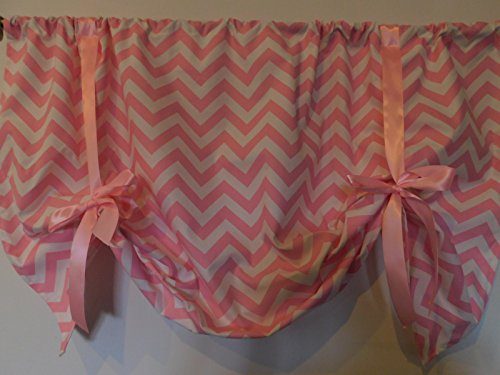 Pink chevron Scalloped Tie Up Valance Curtain panel , With pink ties. Adjustable Length , Window treatment, red and white , home decor. 56 wide. (Pink Valance Chevron)