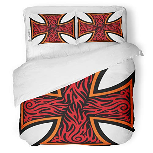 SanChic Duvet Cover Set Maltese Iron Cross in Tribal Tattoo Celtic Catholic Decorative Bedding Set with 2 Pillow Cases Full/Queen Size