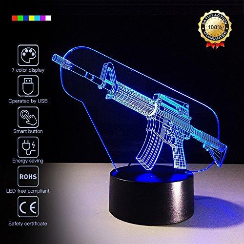 3D Led Optical Illusion 7 Colors Change Night Light Touch Button Creative Design Decorative Lighting Effect Lamp (Submachine Gun) ()