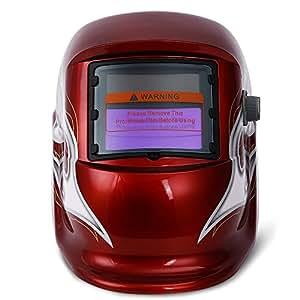 Solar automatic light welding mask head-mounted light-controlled welding mask welding cap red