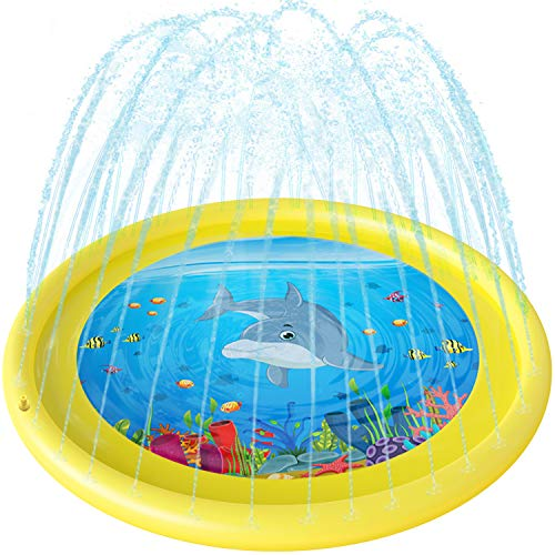 (Anpro Sprinkler for Kids Splash Pad - 68'' Splash Play Mat for Toddlers Boy Girl, Water Toys Outdoor Party Sprinkler Splash Mat)