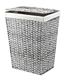Whitmor Rattique Hamper W/Liner & Lid Laundry, Gray Wash
