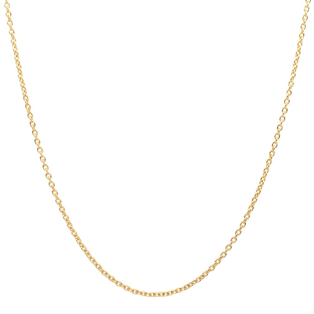 18K Solid Yellow Gold Diamond Cut Round Cable / Anchor Chain Necklace- perfect alone or for pendants-16'' by PORI JEWELERS (Image #1)