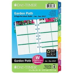"""Day-Timer Weekly Planner Refill 2017, Two Page Per Week, Loose Leaf, 5-1/2 x 8-1/2"""", Desk Size, Garden Path (13493)"""