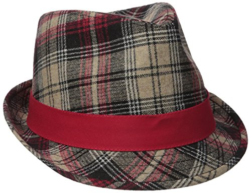 Henschel Men's Wool Blend Plaid Fedora With Solid Band and Loop, Red, Medium