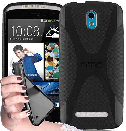 Cadorabo - Silicone Case X-STYLE SLIM-FLEX for HTC DESIRE 500 - Etui Cover Protection Bumper Skin in OXIDE-BLACK (Htc 500 Desire Rubber Case)