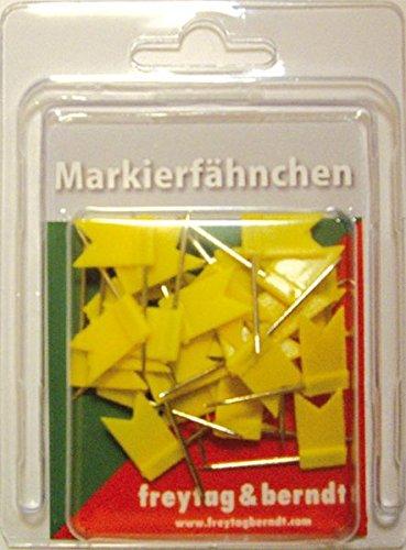 Freytag-Berndt Fähnchen, Pin Fähnchen gelb, 30 Stk. Packung, 32 mm Stecklänge (freytag & berndt Bücher + Specials)