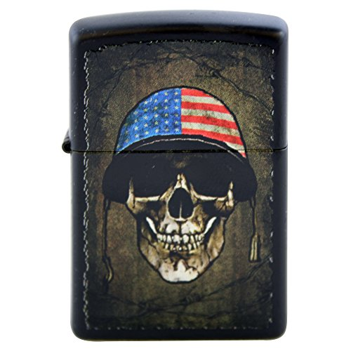 (Zippo Custom Design Lighter American Flag on Military War Helmet Skull Face Black Matte Windproof Collectible Lighter. Made in USA Limited Edition &)