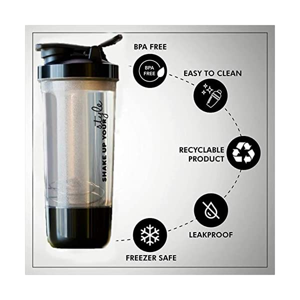 ScrollZone™ Gym Shaker Pro Cyclone Shaker 600ml with Storage Compartment and Stainless Steel Blender Ball, 100% Leak… 2021 August The Protein Shaker Bottle Includes a Sturdy Lid Loop for Easy Transport to and From the Gym. It's Also 100% BPA/BPS-Free Plastic to Ensure Supplements Stay Clean. The Wide Mouth Bottle Cap Locks in Place to Prevent Messy Spills from Happening. Protein Shaker Water Bottle is Made From Environmentally Friendly, Nontoxic and Recyclable Materials.