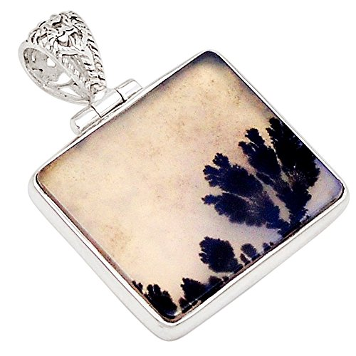 (Xtremegems Russian Dendritic Agate 925 Sterling Silver Pendant 1 1/8