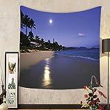 Gzhihine Custom tapestry Hawaiian Decorations Tapestry Houses Clear Sky Full Moon And Moonlight Reflection At Daybreak On A Hawaii Beach Bedroom Living Room Dorm Decor Navy Sand