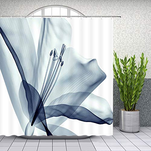 Lileihao Lily Flower Shower Curtain X-ray Plant Creative Bathroom Decor Floral Shower Curtains Sets Waterproof Polyester Fabric Machine Washable Bath Accessories 69 x 70 Inch with Hook ()