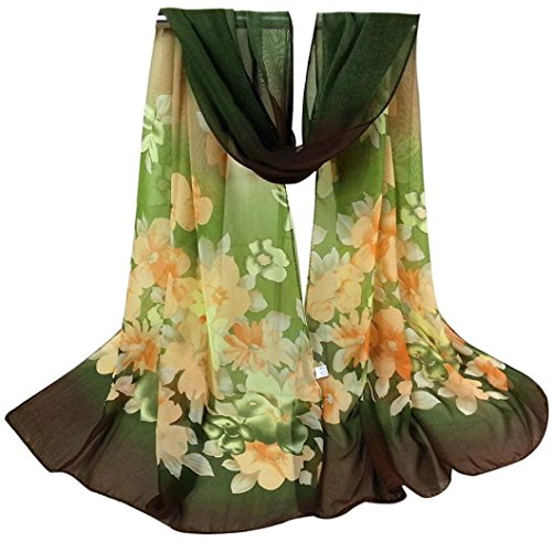 Print Neck Scarf (Bestpriceam Women Lady Chiffon Butterfly Print Neck Shawl Scarf Scarves Wrap Stole (Army Green New))