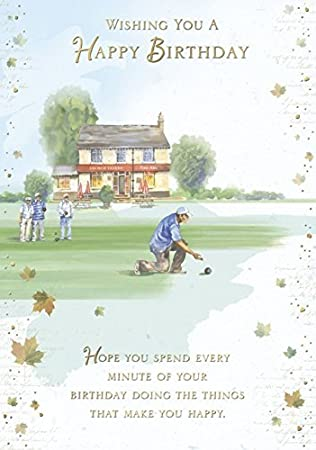 Amazon Gold Open Male Birthday Card Men Playing Bowls At Pub
