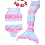 Camlinbo 3PCS Girls' Swimsuit Mermaid Tail for Swimming Tropical Bikini Prime Deals Gift Masquerade Pool Party