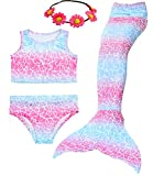 Camlinbo 3PCS Girls' Swimsuit Mermaid Tail for Swimming Tropical Bikini Prime Deals Gift Masquerade Pool Party (Child Medium/5-6/Tag 120, A 1Cherry Pink)