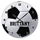 Modern Wooden Clock For Kids Personalized Soccer Ball Non-Ticking Wood Quartz Wall Clock 12 Inch Gifts For Women