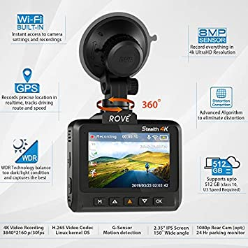 Rove Stealth 4K Wi-Fi Car Dash Cam 2.35 IPS UHD 3840 x 2160p 150 Wide Angle Dashboard Camera Recorder with 8MP CMOS Sensor, H.265, WDR, Time Lapse, 24 7 Parking Mode, 512GB SD Slot, GPS, App View