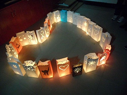 Fascola 20 x Snowman holder Luminaria Paper Lantern Candle Bag For BBQ Christmas Party Home Outdoor Wedding Decoration