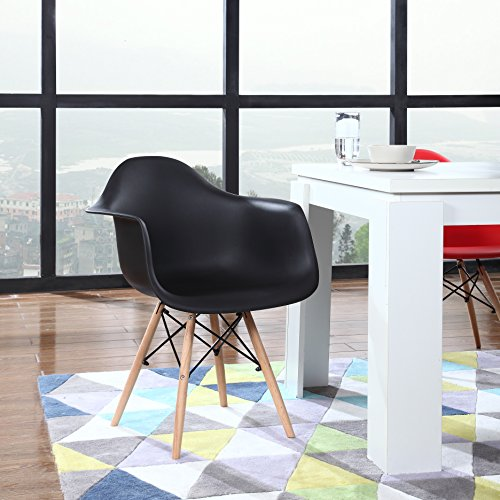 Modern Set of 2 EAMES Style Armchair Natural Wood Legs in Color White, Black and Red Black