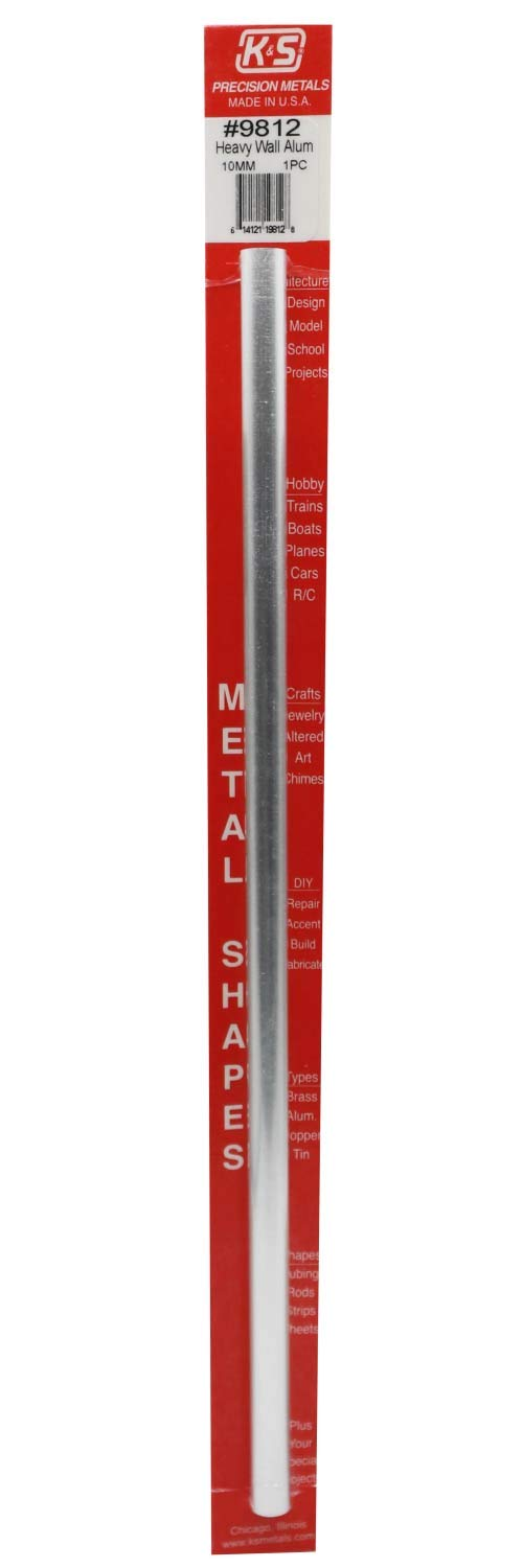 10mm O.D 1 piece per pack Made in the USA K/&S Precision Metals 9812 Heavy Wall Aluminum Tube X .76mm Wall Thickness X 300mm Long