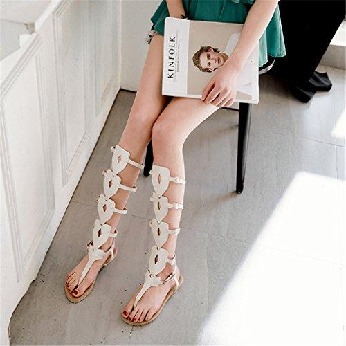 Color Zapatos Boots Belt Fiesta de para Noche Mujer Bottom y Boots Tall Bottom Caminar Comfort de Mujer tamaño Zapatos para Buckle Sandal 37 Zapatos Do Hollow wBwrY8