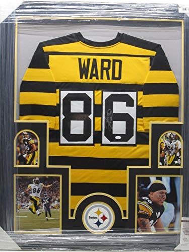 Hines Ward Autographed Signed Autograph Pittsburgh Steelers Throwback Jersey Framed With Photos JSA Authentic Certificate