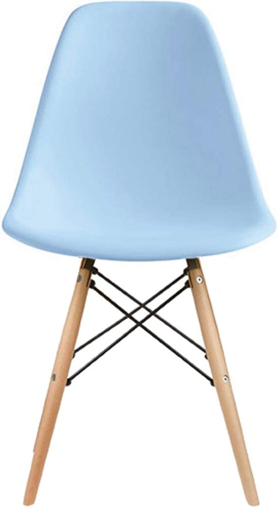 2xhome - Blue - Plastic Side Chair Natural Wood Legs Eiffel Dining Room Chair - Lounge Chair No Arm Arms Armless Less Chairs Seats Wooden Wood Leg Wire Leg
