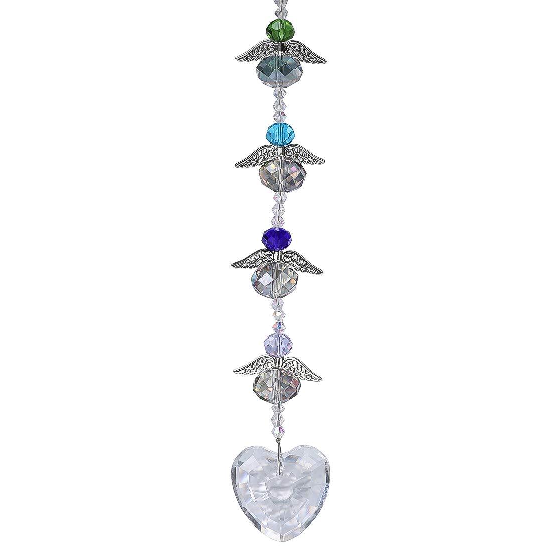 H& D Kristall Handschleifer Anhänger/hängend / Pendel mit klarem Herz und 4 Kleinen Engeln, um als Fenster Dekoration und Raumpendel zu hängen