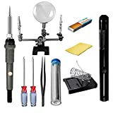 GOCHANGE 60W 110V Electric Soldering Iron Kit Incl. Adjustable Temperature Welding Iron, Magnifier Station, Rosin Flux, 2x Phillips Screwdrivers,Desoldering Pump,Solder Wire, Tweezer, Stand and Sponge