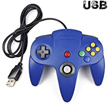 iNNEXT Classic Retro N64 Bit USB Wired Controller for Windows PC MAC Linux Raspberry Pi 3 (Blue)