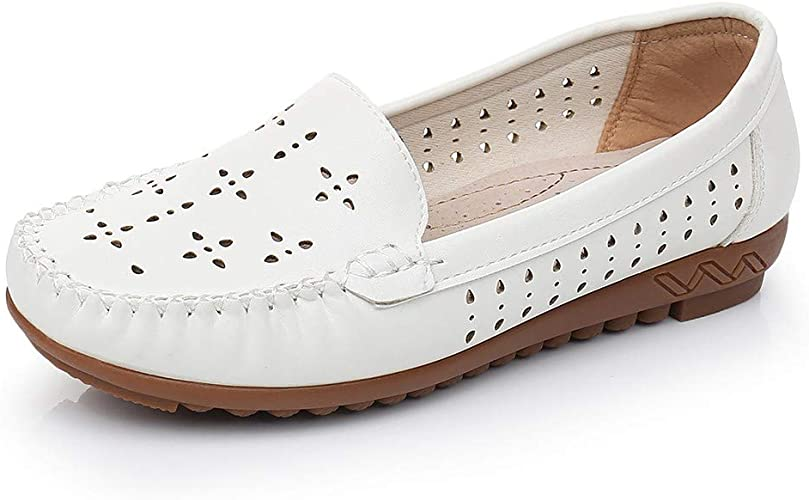 White Leather Loafers Shoes for Women