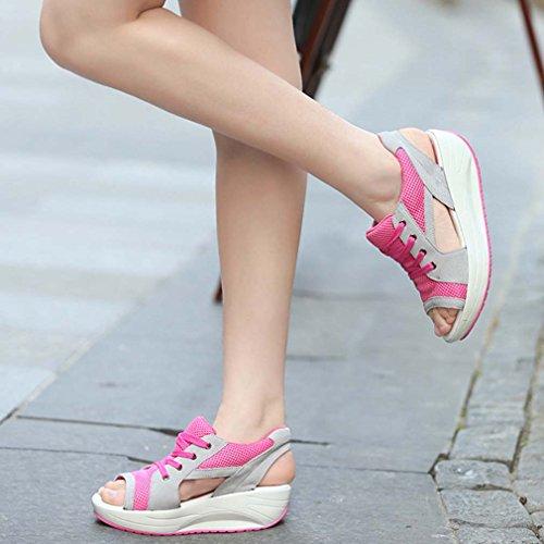 Peep Sneaker Solshine Rosso Scarpe Traspirante Women's Sandalo Toe Corsa Mesh Rosa Da TWf1fXpwq