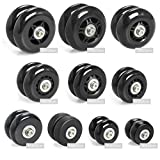 Airkoul 64X18mm Black Luggage Suitcase / Inline Outdoor Skate Replacement Wheels with ABEC 608zz Bearings