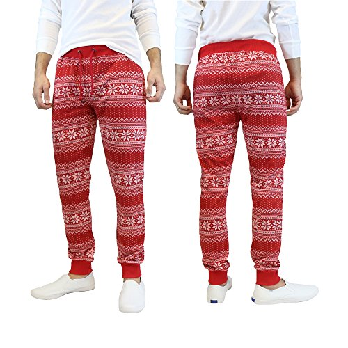Galaxy by Harvic Men's Slim-Fit French-Terry Christmas Joggers