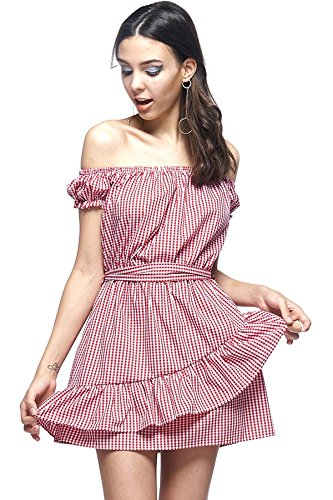 ef6030b53544 edgelook Gingham Off-The-Shoulder Short Sleeves Wrap Belted Ruffle Tulip  Hem Mini Dress