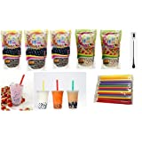 Wufuyuan - Black Tapioca Pearl 8.8 Oz (3 bag) + Wufuyuan - Multi color Tapioca Pearl 8.8 Oz (2 bag) + 50 Extra wide Fat Boba Drinking Straw + One NineChef Spoon Per Order