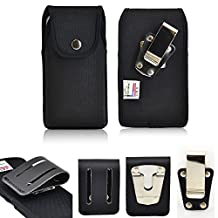 Ballistic Nylon Turtleback Vertical Rugged Heavy Duty Case with Steel Clip and 3 inch Duty Belt Clip fits LG g4 with an Otterbox Defender or Commuter case on it.