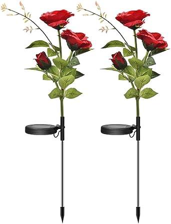 TOOGOO Paquete de 2 Luces Solares LED para JardíN de Rosas con Panel Solar, Luces Solares Impermeables para DecoracióN de Jardines, Patio, Camino, Patio: Amazon.es: Iluminación