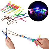 OFKPO Slingshot LED Helicopters Arrow Rocket Copters 12 PCS Led Light Helicopter Flying Toy Elastic Powered Slingshot Heli